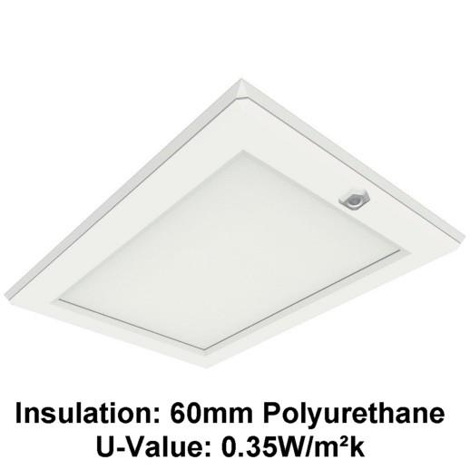 Manthorpe GL250-035-PU Plastic Drop Down Loft Hatch & Surround; Multi Point Catch; White (WH); Fits 553-562 x 726mm Opening; 545 x 715mm Clear Access; 60mm Polyurethane (UV 0.35)