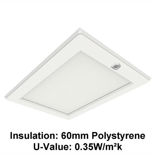 Manthorpe GL250-03L Plastic Drop Down Loft Hatch & Surround; Multi Point Catch; White (WH);  Fits 561 x 726mm Opening; 525 x 695mm Clear Access; Part L Insulation Compliant; Lockable