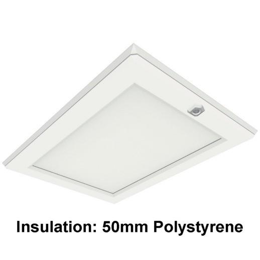 Manthorpe GL251 Plastic Drop Down Loft Hatch & Surround; Multi Point Catch; White (WH);  Fits 562 x 726mm Opening; 525 x 695mm Clear Access; 50mm Expanded Polystyrene