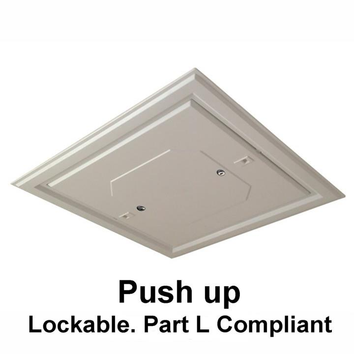 Manthorpe GL261L Plastic Lockable Push Up Loft Hatch & Surround; White (WH); Fits 562 x 562mm Opening; 528 x 528mm Clear Access; 2 Key Locks For Security; Part ' L ' Insulation Compliant