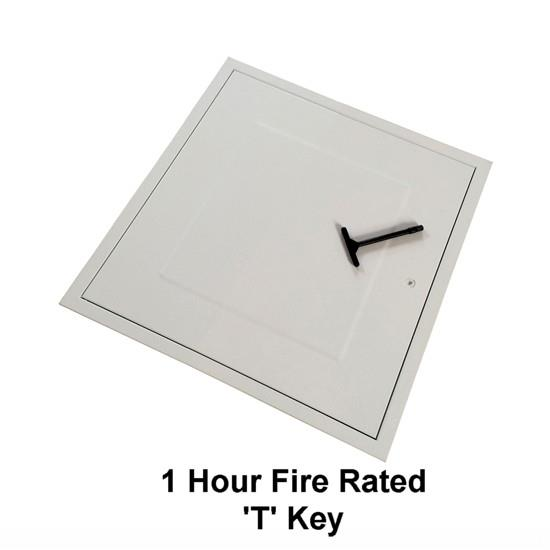 Manthorpe GL270F Fire Rated Loft Hatch & Surround; Square Drop Down; White (WH), Fits 531mm x 531mm Opening; 515mm x 430mm Clear Access; 580mm x 580mm External Frame; Budget T Key Lock