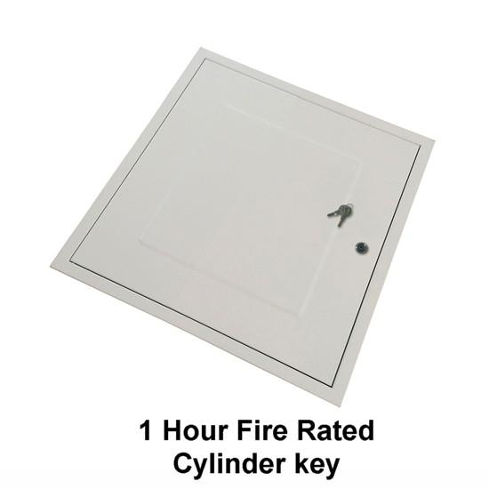 Manthorpe GL271F Fire Rated Loft Hatch & Surround; Square Drop Down; White (WH), Fits 531mm x 531mm Opening; 515mm x 430mm Clear Access; 580mm x 580mm External Frame; Cylinder Cam Lock