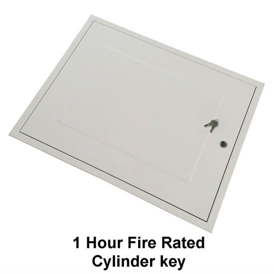 Manthorpe GL281F Fire Rated Loft Hatch & Surround; Rectangular Drop Down; White (WH), Fits 726mm x 562mm Opening; 665mm x 521mm Clear Access; 749mm x 584mm External Frame; Cylinder Cam Lock