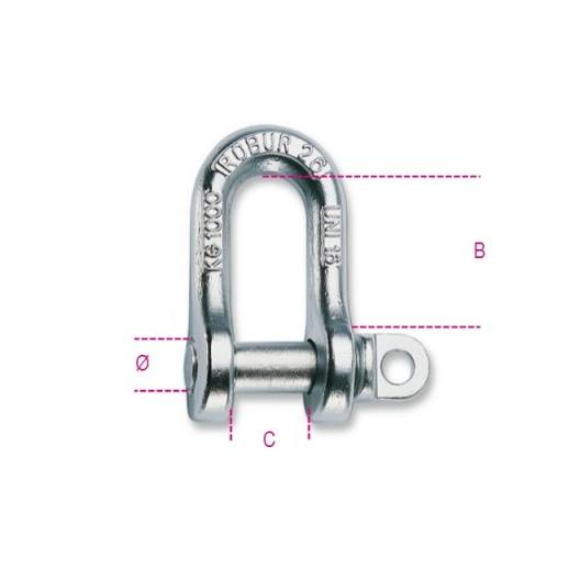 "8026A 12 Straight Shackles; Type A Forged, Galvanised (GALV); 12mm (1/2"")"