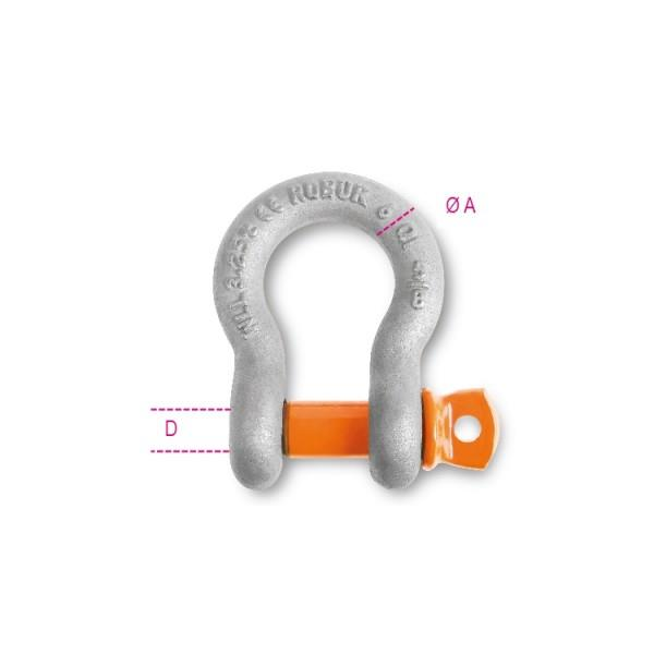 Robur 8029R 13 Bow Shackle With Screw Collar PIn;  High Tensile Alloy Steel; Grade 6; Hot-Dipped Galvanized Body; 13mm