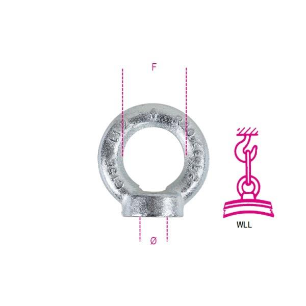 Robur 8042EZ M6 Lifting Eye Nut; DIN 582; Galvanised (GALV)