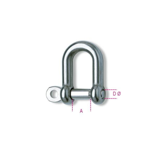 Robur 8225-8 Straight Shackle; Grade 316 Stainless Steel (SS); 8mm