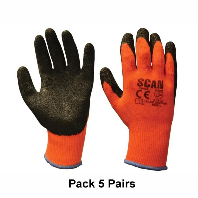 Scan GLOKSTH5 Thermal Latex Coated Gloves; Orange Palm; Size 9 Large (L); Pack (5 Pair)