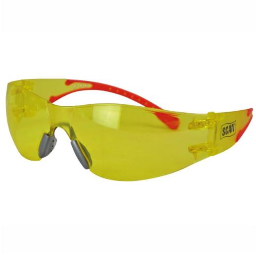 Scan SCAPPEFSAMB Flexi Safety Spectacles; Amber Lens; EN166:1F & EN170