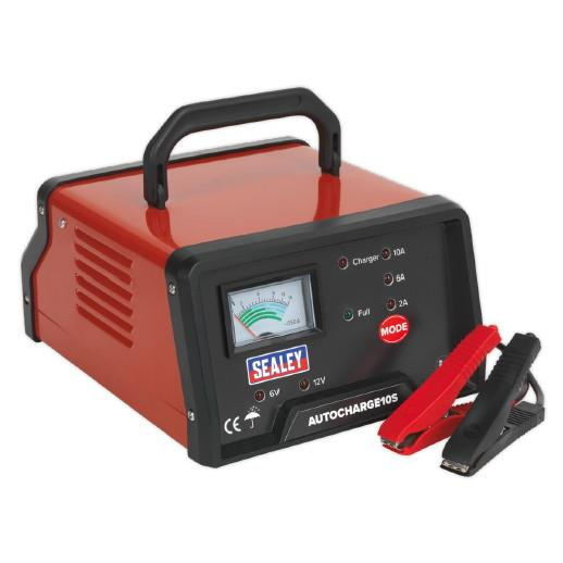 Sealey AUTOCHARGE10S Electronic Battery Charger; Selectable 6 Or 12 Volt Output; 10 Amp; 230 Volt Supply