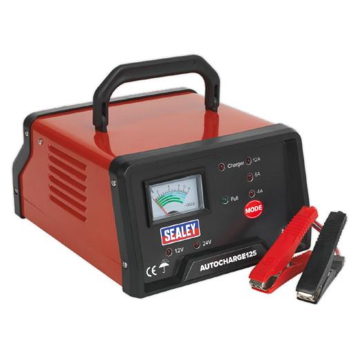Sealey AUTOCHARGE12S Electronic Battery Charger; Selectable 6 Or 12 Volt Output; 12 Amp; 230 Volt Supply
