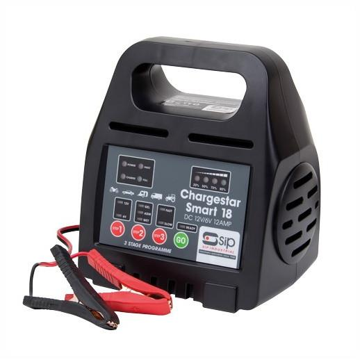 SIP 03981 Chargestar Smart 18 230 Volt Input; To Suit AGM; Gel And Wet Cell Batteries; 6 And 12 Volt Batteries; 3 Stage; 12 amp Max Current
