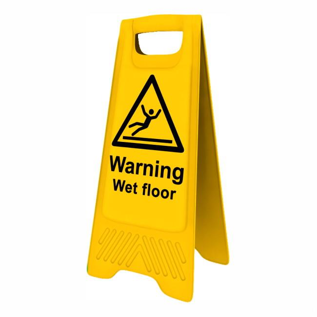 "Spectrum 4702 Heavy Duty A-Board; ""Warning Wet floor""; Yellow (YEL); 610 x 300mm"