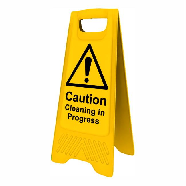 "Spectrum 4703 Heavy Duty A-Board; ""Caution Cleaning in progress""; Yellow (YEL); 610 x 300mm"