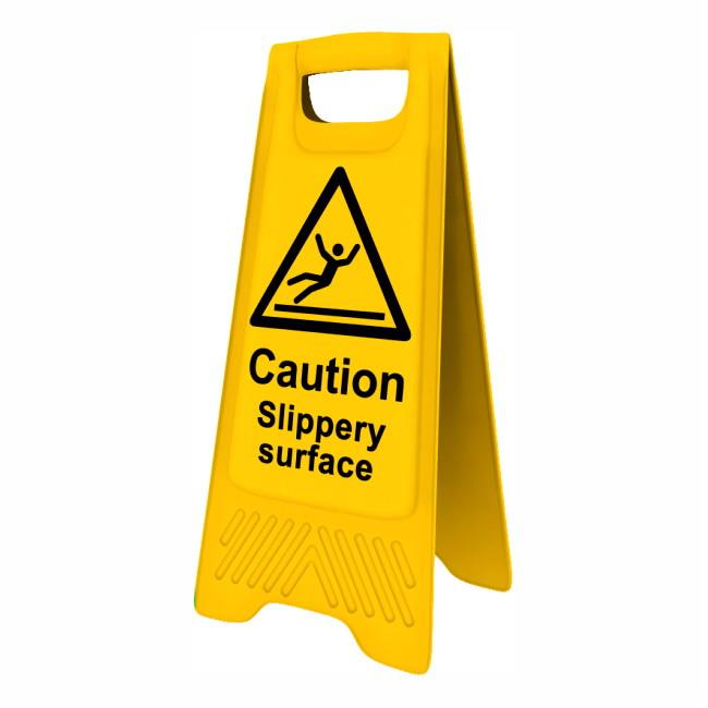 "Spectrum 4704 Heavy Duty A-Board; ""Caution Slippery Surface""; Yellow (YEL); 610 x 300mm"
