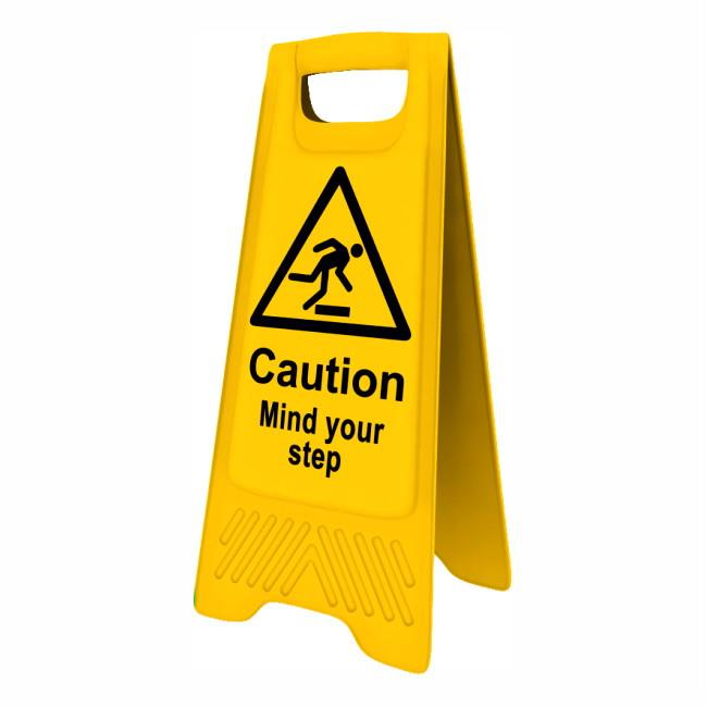 "Spectrum 4705 Heavy Duty A-Board; ""Caution Mind your step""; Yellow (YEL); 610 x 300mm"