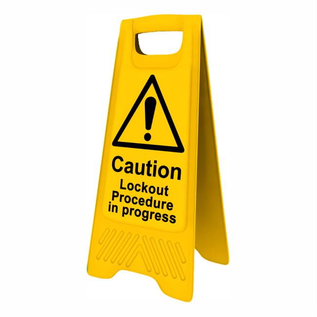 "Spectrum 4707 Heavy Duty A-Board; ""Caution Lockout Procedure in progress""; Yellow (YEL); 610 x 300mm"