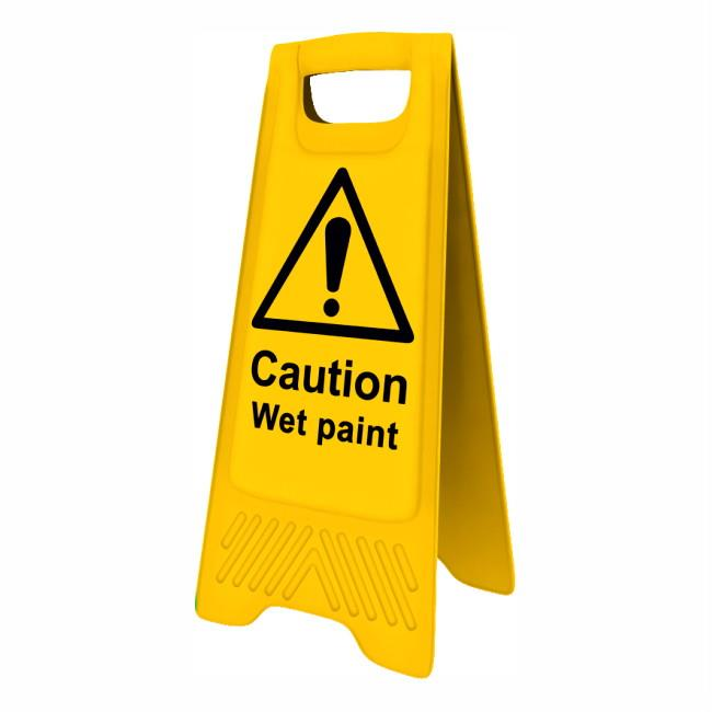 "Spectrum 4711 Heavy Duty A-Board; ""Caution Wet  paint""; Yellow (YEL); 610 x 300mm"