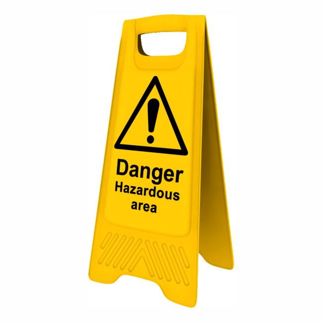"Spectrum 4712 Heavy Duty A-Board; ""Danger Hazardous Area""; Yellow (YEL); 610 x 300mm"
