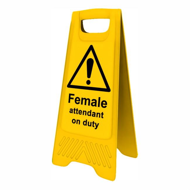 "Spectrum 4713 Heavy Duty A-Board; ""Female attendant on duty""; Yellow (YEL); 610 x 300mm"