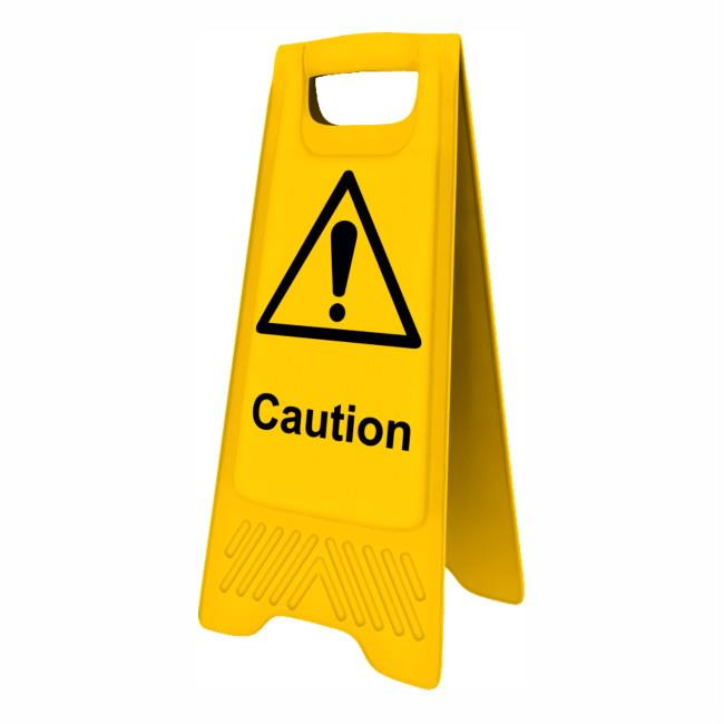 "Spectrum 4714 Heavy Duty A-Board; ""Caution""; Yellow (YEL); 610 x 300mm"
