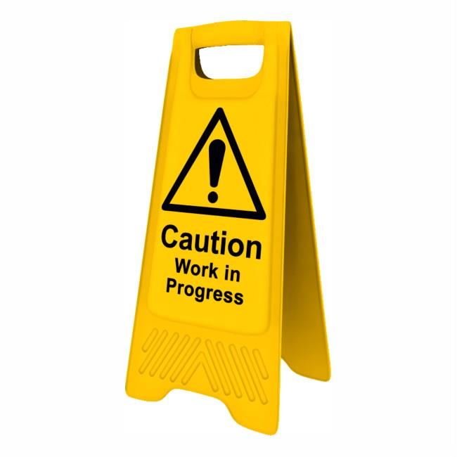 "Spectrum 4715 Heavy Duty A-Board; ""Caution Work in progress""; Yellow (YEL); 610 x 300mm"