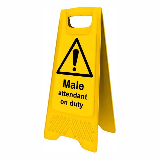 "Spectrum 4716 Heavy Duty A-Board; ""Male attendant on duty""; Yellow (YEL); 610 x 300mm"