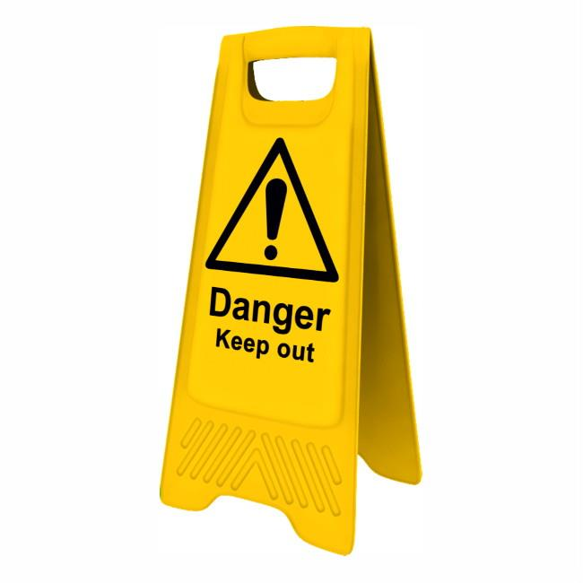 "Spectrum 4717 Heavy Duty A-Board; ""Danger Keep out""; Yellow (YEL); 610 x 300mm"