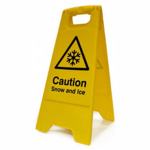 "Spectrum 4719 Heavy Duty A-Board; ""Caution Snow and Ice""; Yellow (YEL); 610 x 300mm"