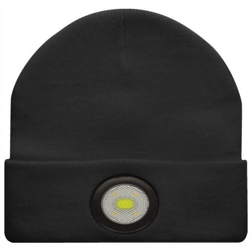 Unilite BE-02+ Beanie Hat With Integrated LED Head Torch; USB Rechargeable; 150 Lumen; Black (BK)