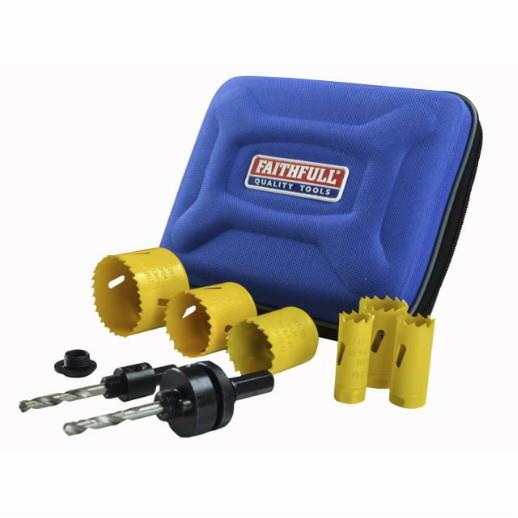 Faithfull HSKP Plumbers Holesaw Kit Set; 9 Piece; 19 - 57mm