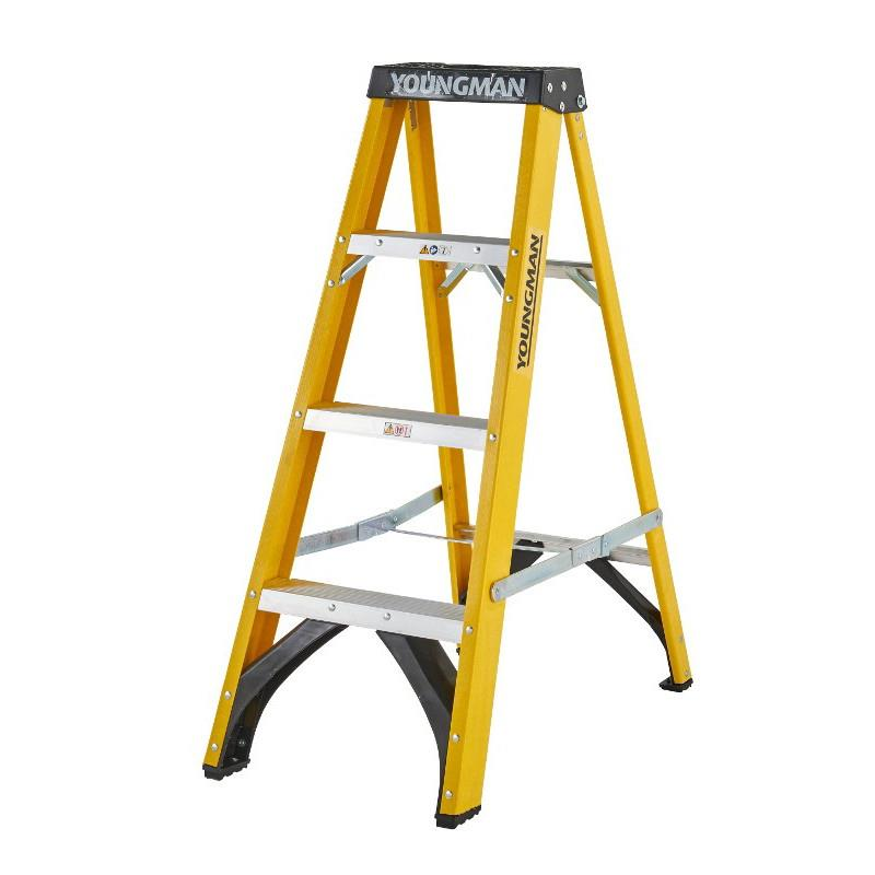 Youngman 52744418 S400 4 Tread; Glass Fibre Builders Step Ladder; EN131 2018; Safe Working Height 2040mm; Open Height 1120mm
