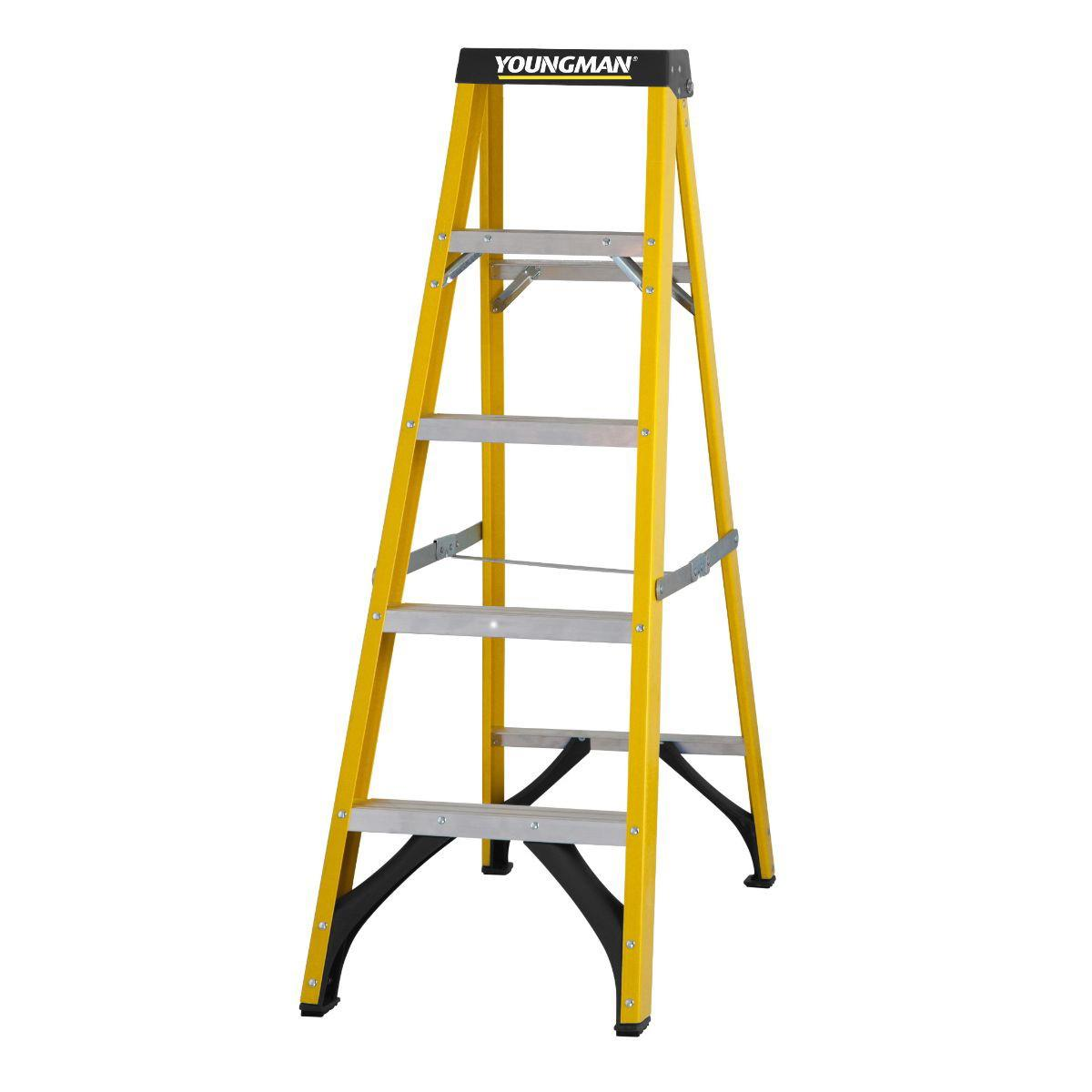 Youngman 52745518 S400 5 Tread; Glass Fibre Builders Step Ladder; EN131 2018; Safe Working Height 2317mm; Open Height 1400mm