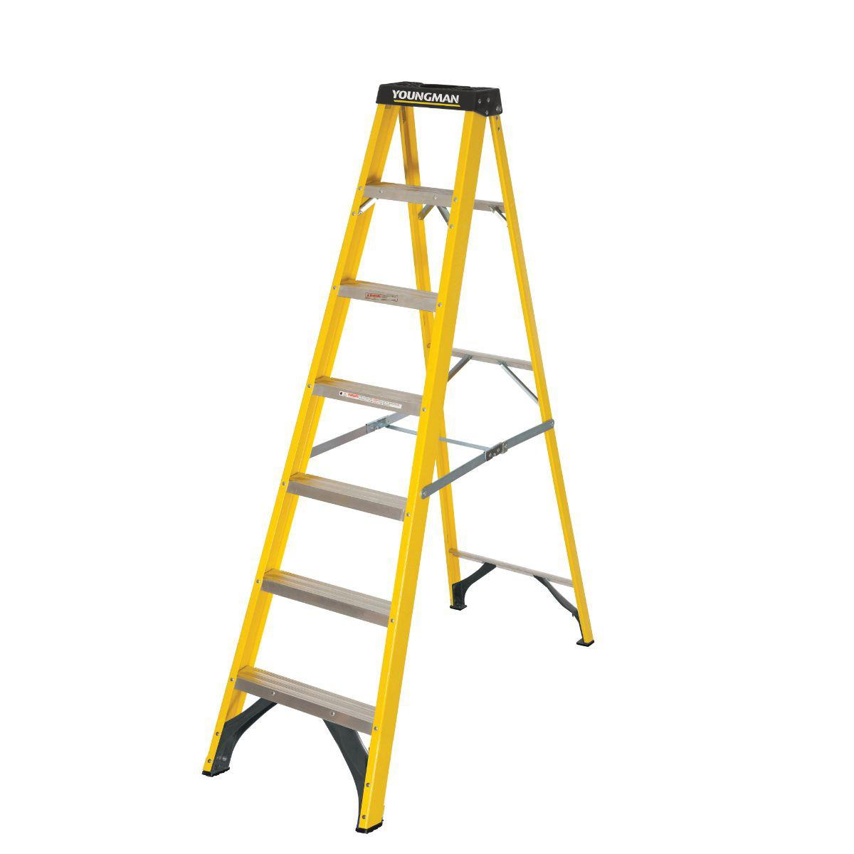 Youngman 52745718 S400 Glass Fibre Builders Step Ladder; EN131 2018; 7 Tread; Safe Working Height 2871mm
