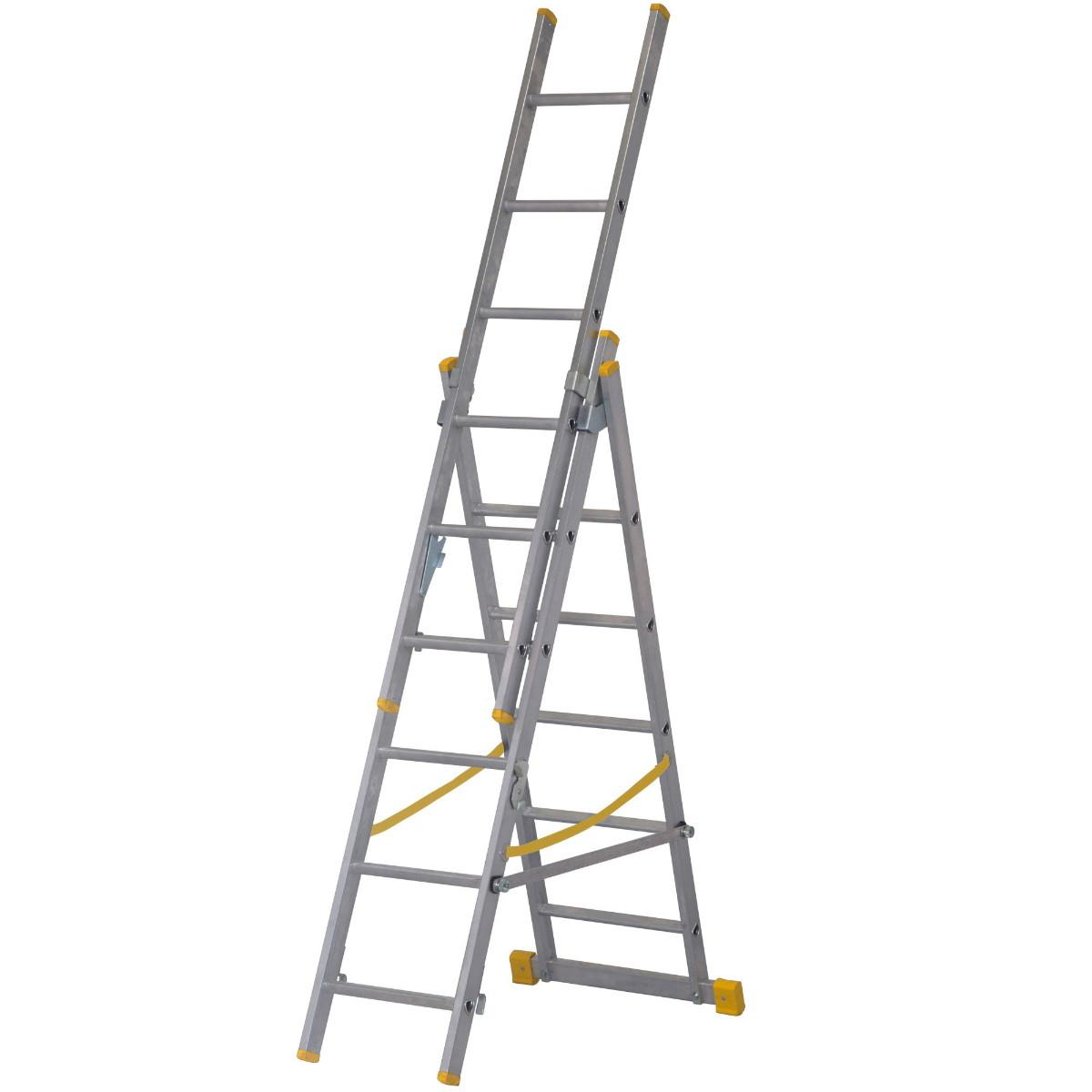 Youngman 34038118 Combi 100 X4 Combination Ladder; Aluminium; EN131 2018; 1.92m - 3.48m; Height To Top Tread In Step Ladder Configuration 2.7 Metre; 3 x 6 Rung